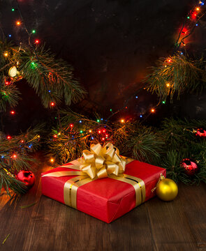 Christmas holiday background. Gifts on a wooden