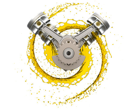 3d illustration of car engine with lubricant oil.  Front car engine components with splashes of oil on white background. Engine oil concept.