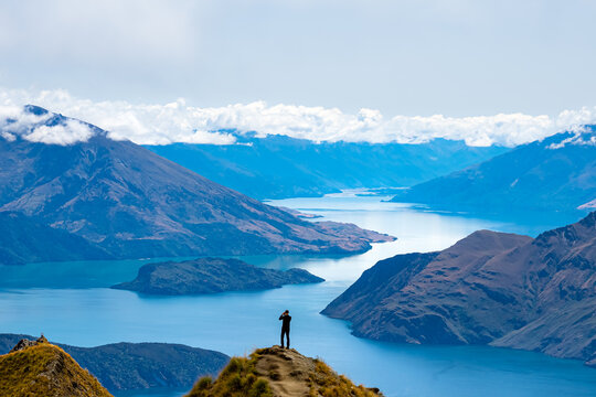 Aerial view of Roys Peak with Lake Wanaka in New Zealand.