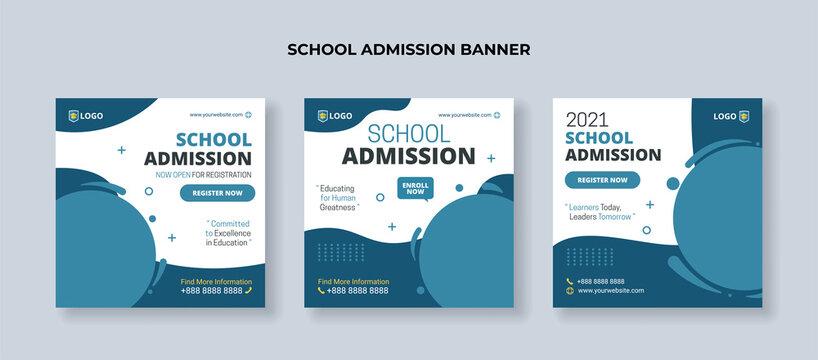 Modern school admission banner for social media post template