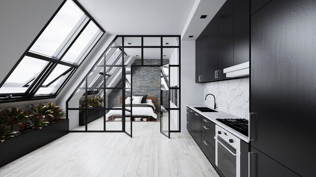 Loft in the attic with kitchen and bedroom