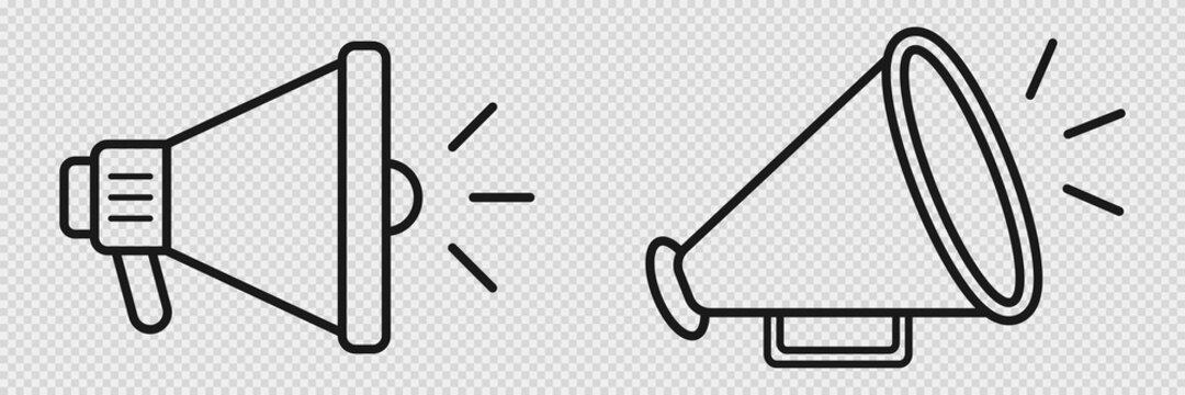 Megaphone icon on transparent background. Loudspeaker sign. Isolated bullhorn retro and modern icons. Outline thin speaker. Announcement illustration. Vector EPS 10.