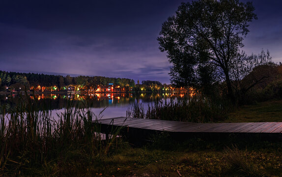 Moscow. October 10, 2020. Meshchersky park in the fall. Beautiful  night landscape with a view of the pond and church
