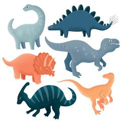 Cute dinosaur set. Hand drawn dino illustration isolated on  white background