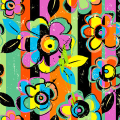 seamless abstract background composition, with flowers, paint strokes and splashes