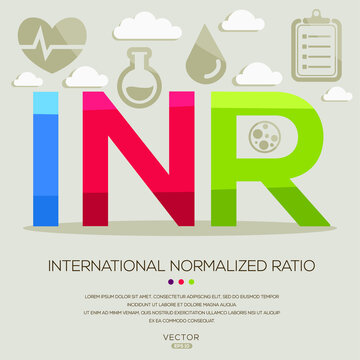 INR mean (international normalized ratio) medical acronyms ,letters and icons ,Vector illustration.