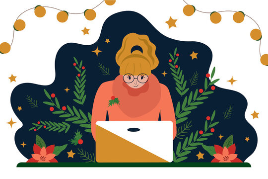 Business woman works for a laptop. A desktop decorated for Christmas and New Year. Festive workplace interior design. Flat vector illustration