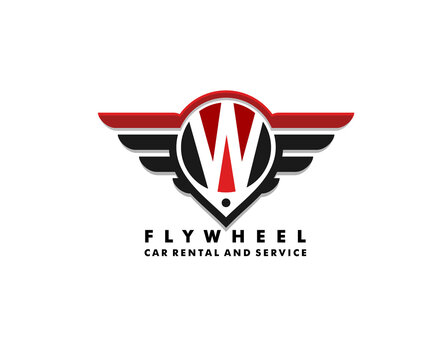 vector cars logo ilutration. wheel and wings with letter W