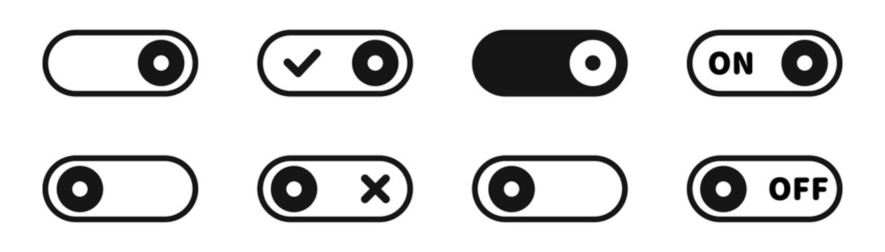 Toggle switch vector icon set. On off slider toggle collection.
