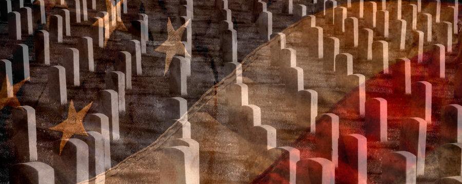 Arlington Cemetery with Faded Flag