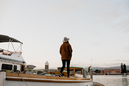 Person walking on boat