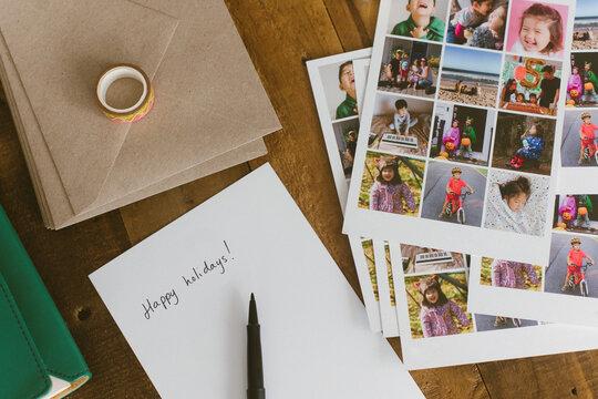 Happy holidays written on card