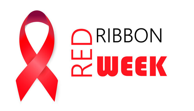 National Red Ribbon Week is organized annually in the end October. An alcohol, tobacco and violence prevention in society. Campaign to help drug addicts. Flat concept