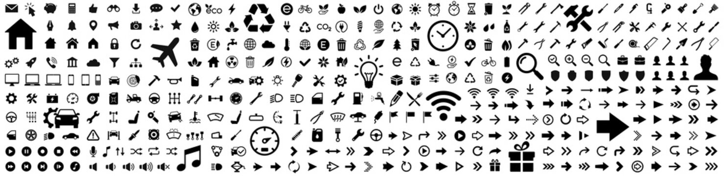 Icons big set. Web icon. Basic icons collection. Vector