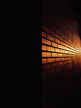 Brick wall in the sunset