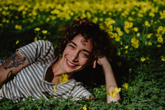 in a yellow clover field