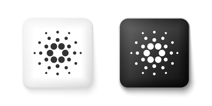 Black and white Cryptocurrency coin Cardano ADA icon isolated on white background. Digital currency. Altcoin symbol. Blockchain based secure crypto currency. Square button. Vector.