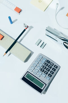 """BORED AT OFFICE""""""""-part I -white series /Office supplies / objects-abstract set ups."""