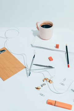 "BORED AT OFFICE""""-part I -white series /Office supplies / objects-abstract set ups."