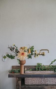 View of flower bouquet in kitchen