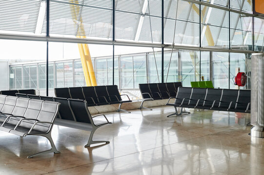 Empty chairs in an airport