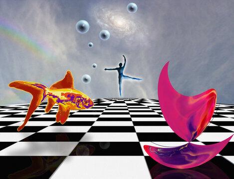 Surreal composition. Pink matter