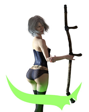 3D Photo of a Female Reaper Holding a Scythe