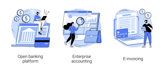 Photo sur Plexiglas Dinosaurs IT accounting system abstract concept vector illustration set. Open banking platform, enterprise accounting, e-invoicing, business financial software, electronic invoice tool abstract metaphor.