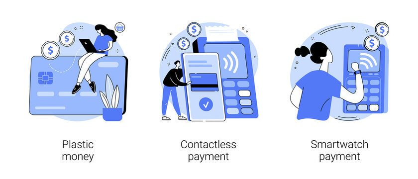Digital transactions abstract concept vector illustration set. Plastic money, contactless smartwatch payment, credit and debit card, smartphone banking application, smart technology abstract metaphor.
