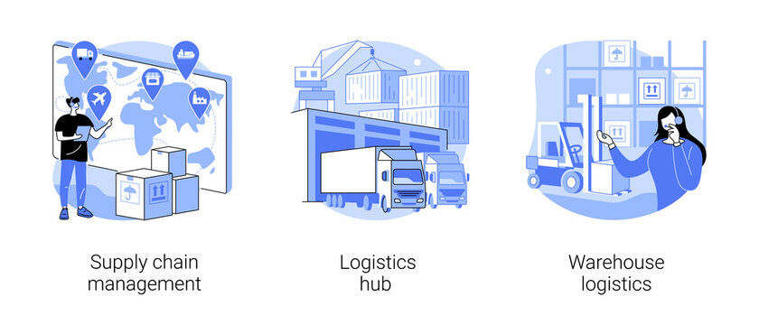 Goods transportation and storage abstract concept vector illustration set. Supply chain management, logistics hub, warehouse logistics, sorting and shipping, package delivery abstract metaphor.