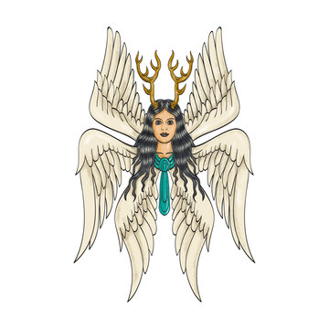 Seraph or Seraphim a Six-Winged Fiery Angel with Six Wings and Deer Antlers Tattoo Style Full Color