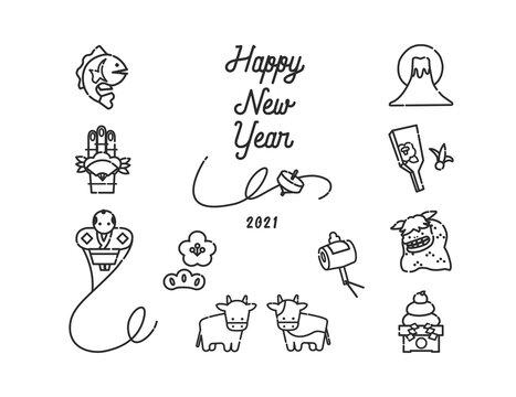 2021 日本の新年を祝うアイコンイラスト 丑年、縁起物