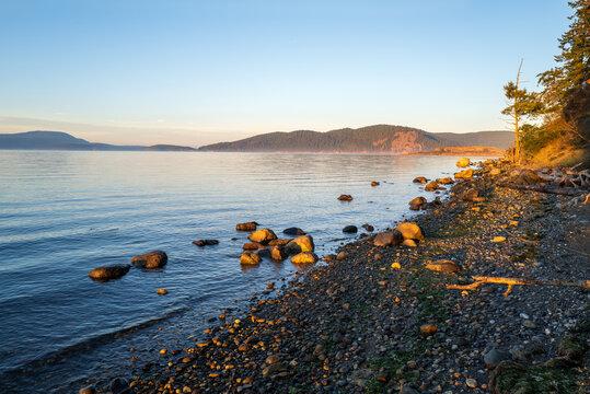 Rocky shore of Swift's Bay on Lopez Island, Washington, USA