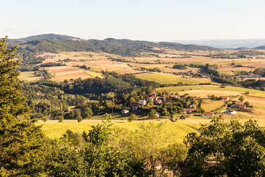 Usson, France. A small town in Auvergne, central France, views of the French countryside in Auvergne
