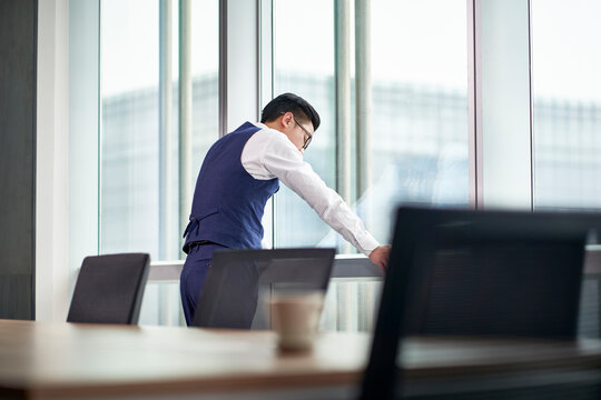 frustrated asian corporate executive standing by window in office