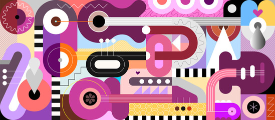 Colored geometric style design of different musical instruments. Abstract art composition of guitars, trumpet, saxophone and geometric shapes, vector illustration.