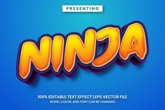 Popular ninja cartoon title text effect. Naruto movie