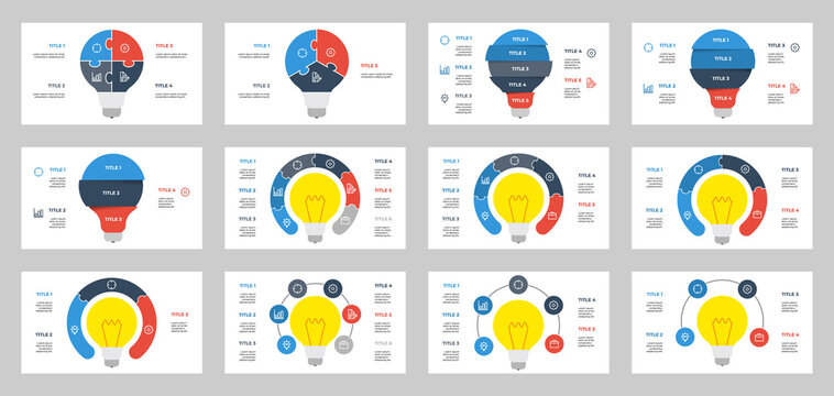 set of light bulb infographic element vector, data visualization with 3, 4, 5, 6 points, steps, options, list, processes, can be used for workflow, presentation slide, brochure, banner, flyer, etc.