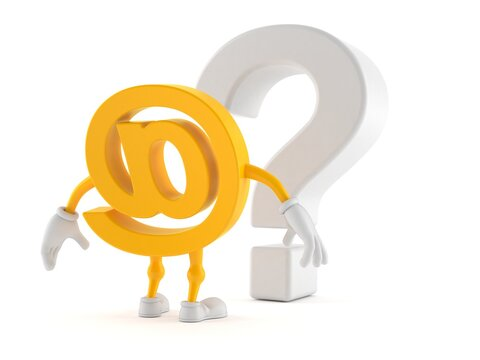 E-mail character looking at question mark symbol