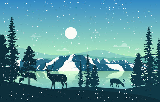 Winter Snow Pine Mountain Lake Snowfall Nature Landscape Illustration