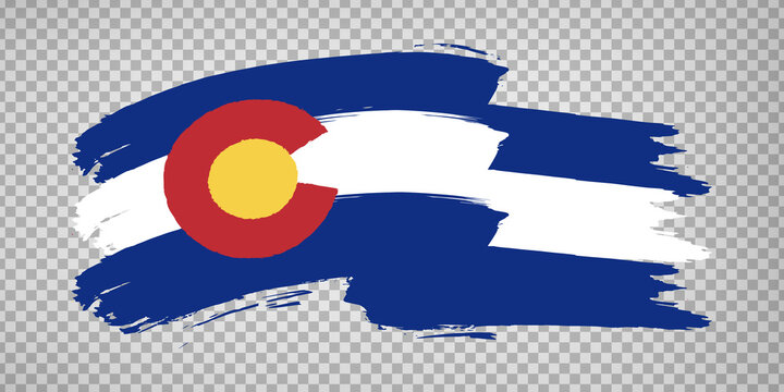 Flag of Colorado from brush strokes. United States of America.  Flag Colorado on transparent background for your web site design, app, UI. Stock vector. Vector illustration EPS10.