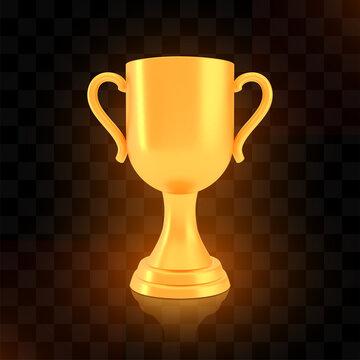 Winner cup award, golden trophy logo isolated on black transparent background