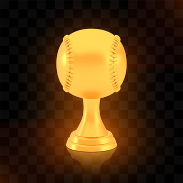 Winner baseball cup award, golden trophy logo isolated on black transparent background