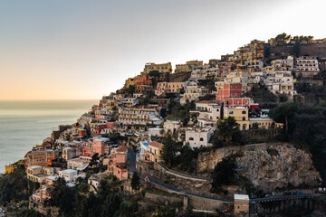 Amalfi coast in Italy in sunset