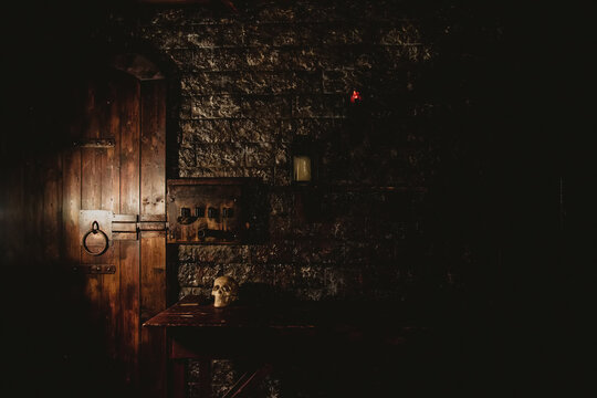 Mystical dark interior of medieval room with large wooden door and skull on table against an ancient stone wall. Amazing background for Halloween holiday. Copy space, text place