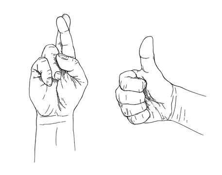People hand show fingers crossed and thumb up gesture.