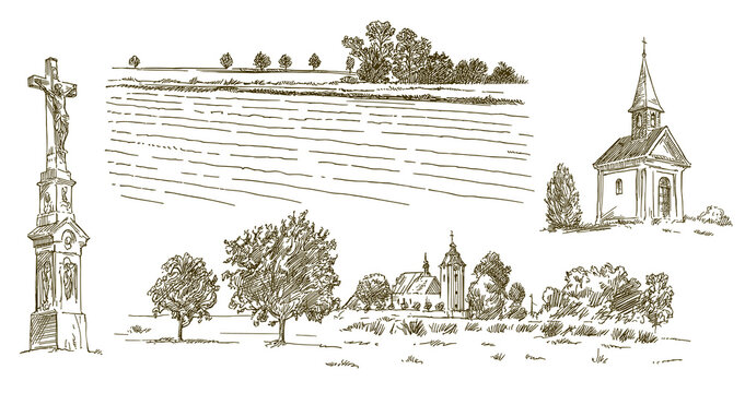 Rural village landscape, field and meadow, hand drawn set.