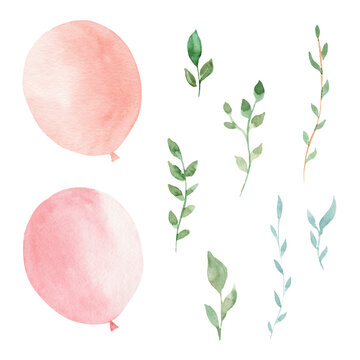 Watercolor pink balloons and greenery leaves. Hand painted clipart set.
