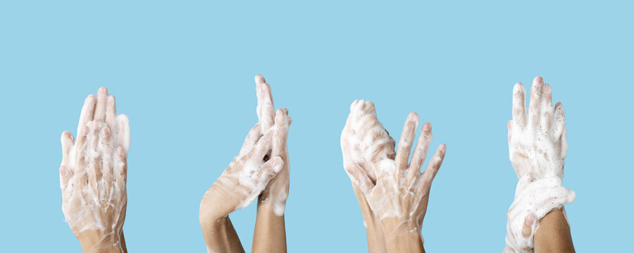Caution Hand washing advice to avoid germs, bacteria or viruses. Hygiene concept