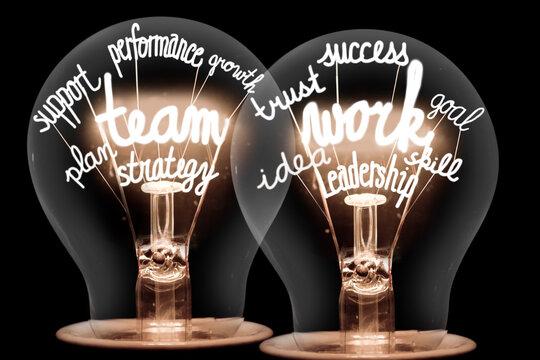 Light Bulbs with Team Work Concept